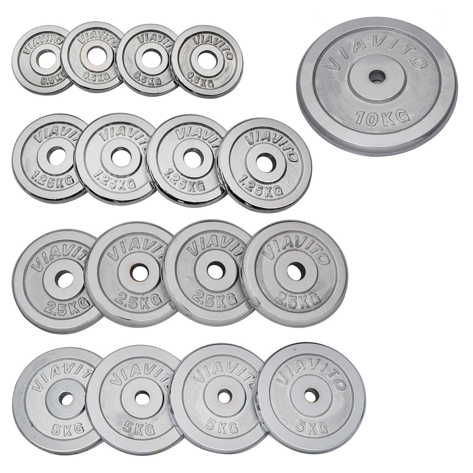 Viavito Chrome Standard Weight Plates - 4 x 1.25kg
