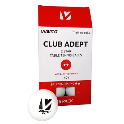 Viavito Club Adept 2 Star Table Tennis Balls - Pack of 6 - New