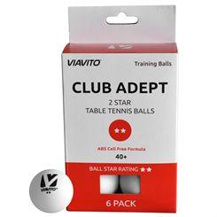 Viavito Club Adept 2 Star Table Tennis Balls - Pack of 6