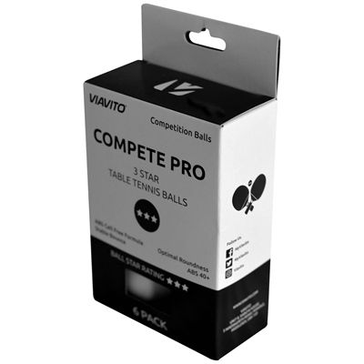 Viavito Compete Pro 3 Star Table Tennis Balls - Pack of 6 - Angle