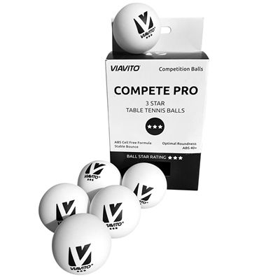 Viavito Compete Pro 3 Star Table Tennis Balls - Pack of 6 - New - Balls