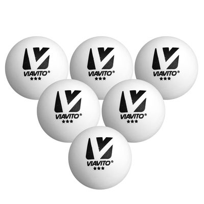 Viavito Compete Pro 3 Star Table Tennis Balls - Pack of 6 - New - Ballz