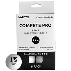 Viavito Compete Pro 3 Star Table Tennis Balls - Pack of 6