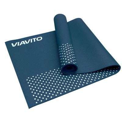 Viavito Leviato 6mm Yoga Mat with Carry Strap - Distant Blue - Half Folded