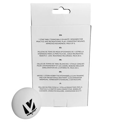 Viavito Surefire 1 Star Table Tennis Balls - Pack of 6 - New - Back