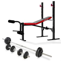 Viavito SX200 Folding Barbell Weight Bench and 50kg Cast Iron Weight Set