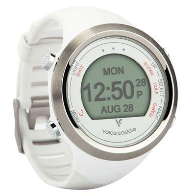 Voice Caddie T1 GPS Golf Watch - White - Angled