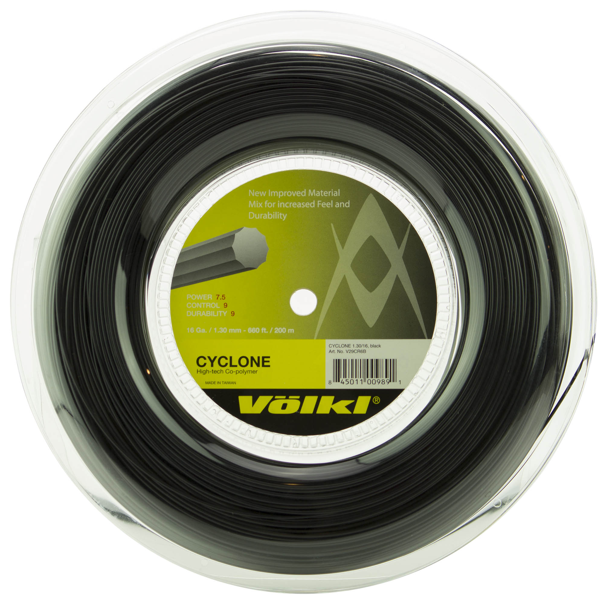 Volkl Cyclone Tennis String - 200m Reel - Black, 1.30mm