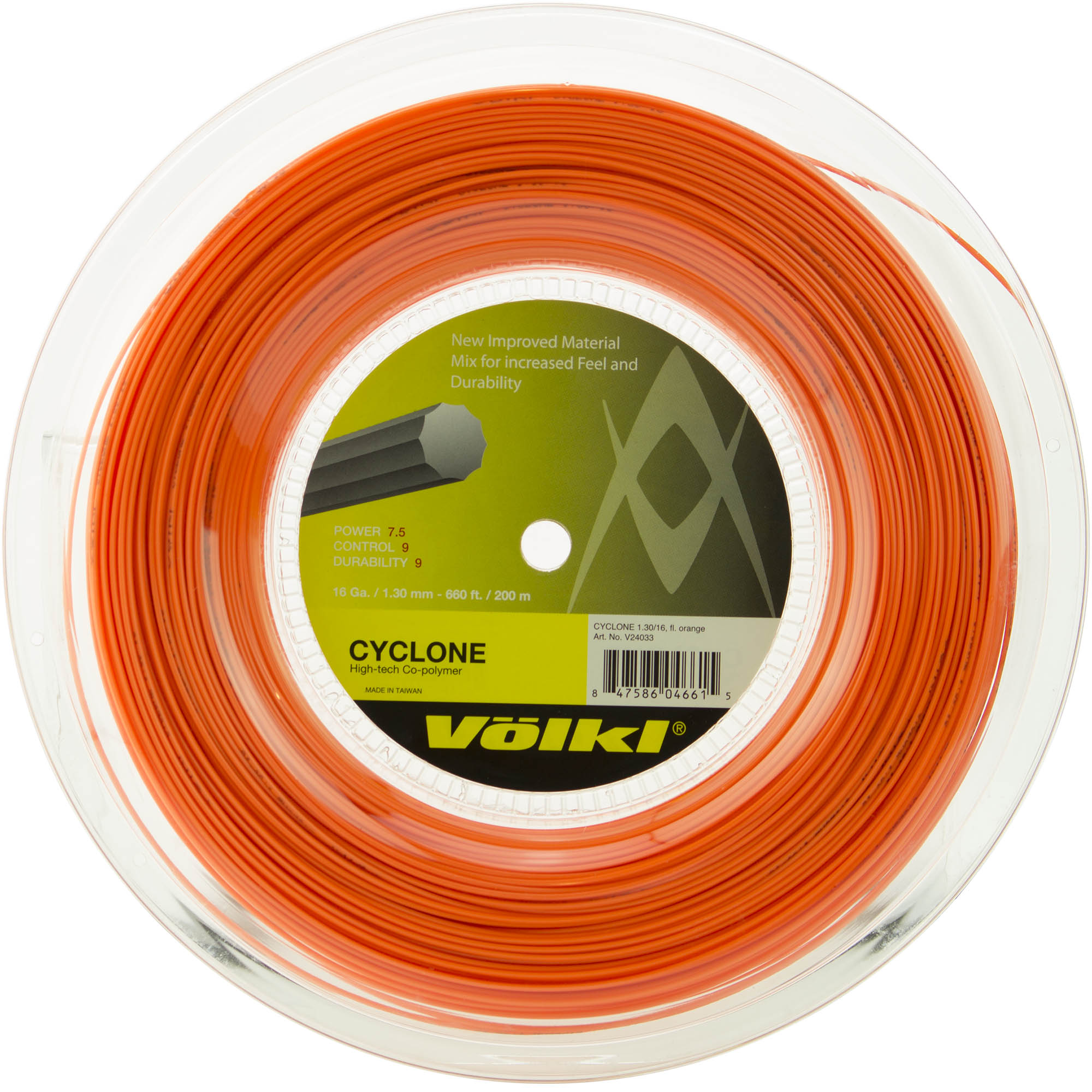 Volkl Cyclone Tennis String - 200m Reel - Orange, 1.30mm