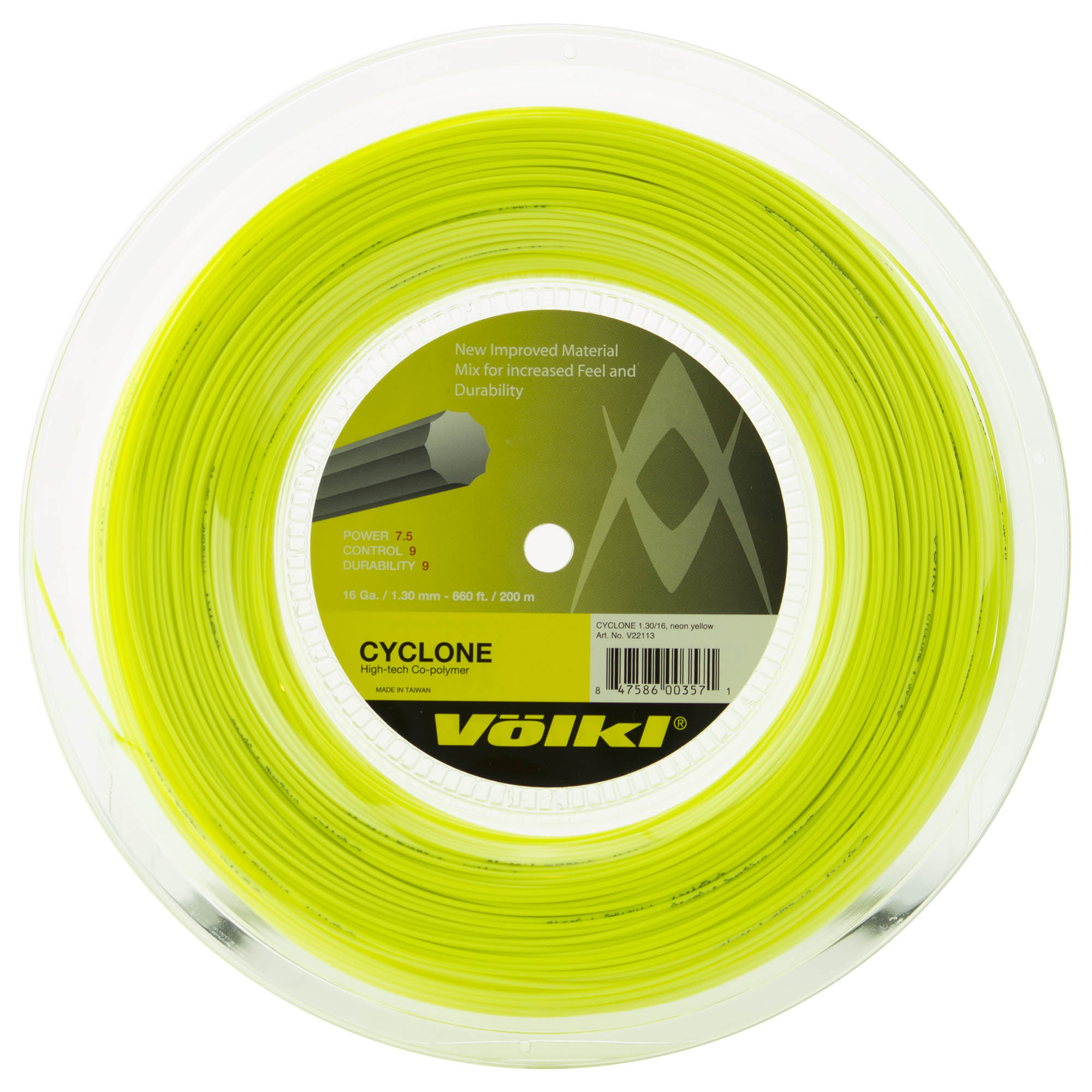 Volkl Cyclone Tennis String - 200m Reel - Yellow, 1.30mm