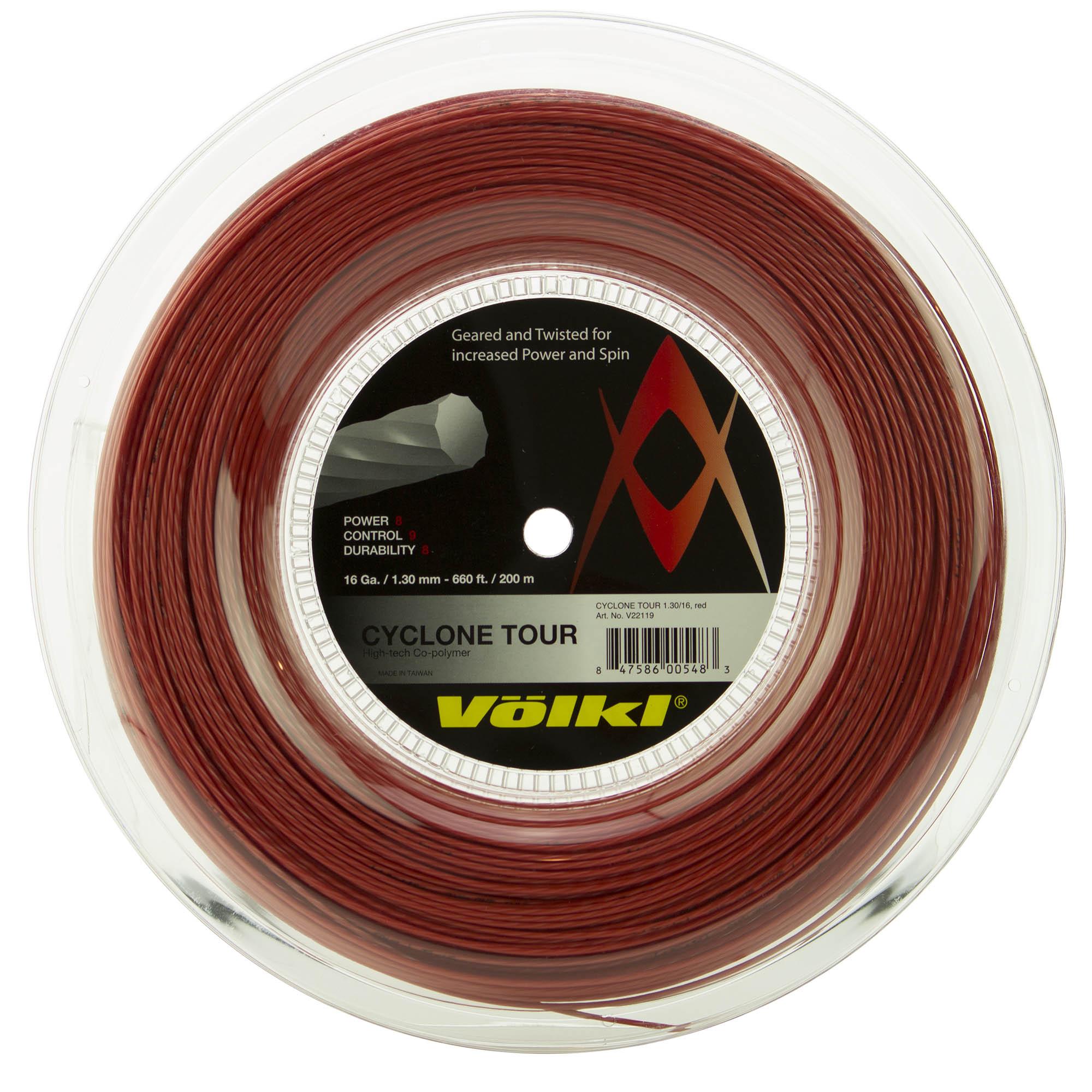 Volkl Cyclone Tour Tennis String - 200m Reel - Red, 1.20mm