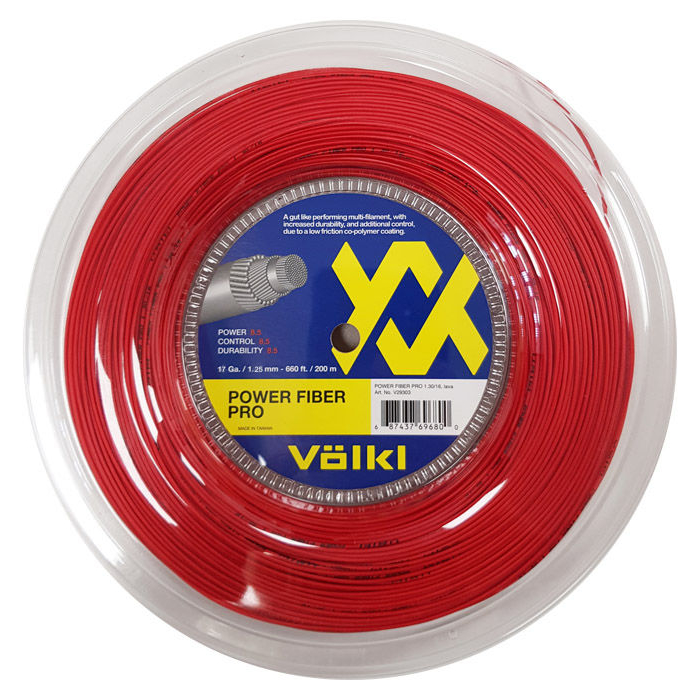 Volkl Power Fiber Pro Tennis String - 200m Reel - Red, 1.25mm