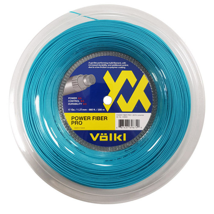 Volkl Power Fiber Pro Tennis String - 200m Reel - Turquoise, 1.25mm