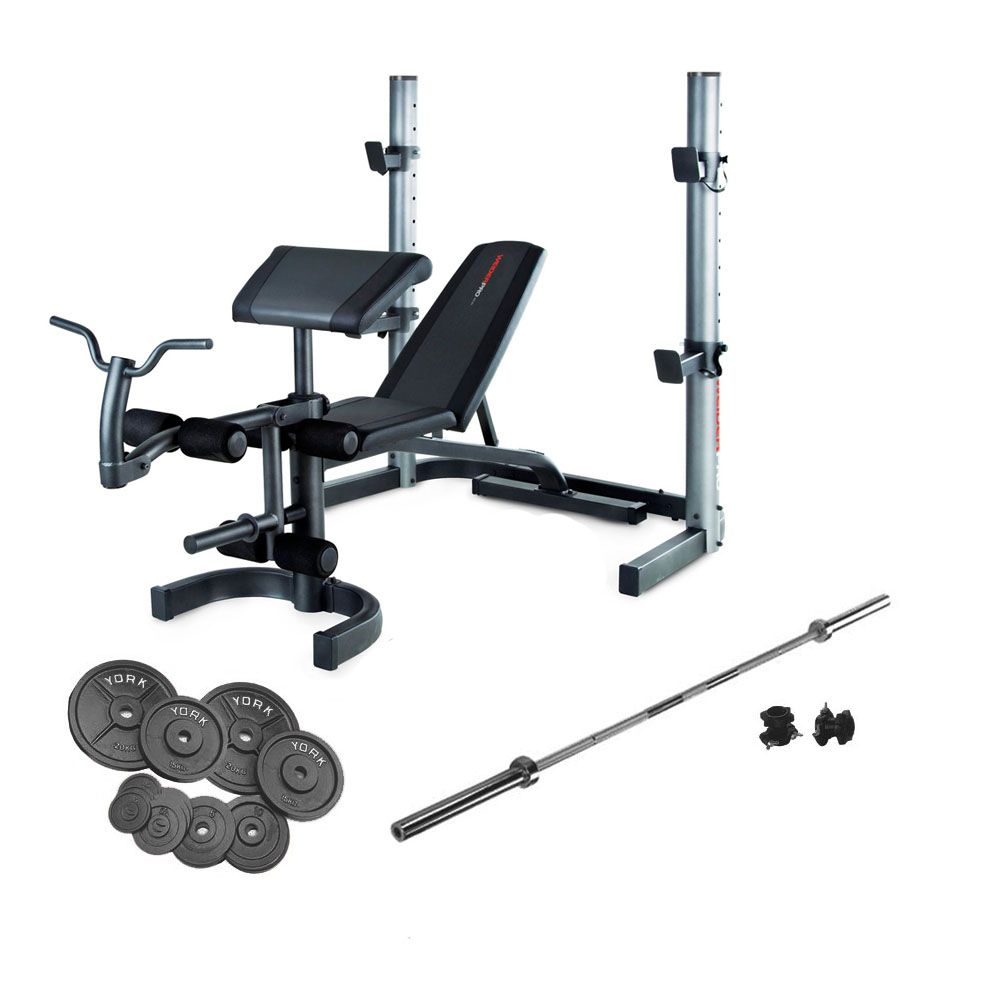 Weider 490 olympic bench and 140kg cast iron barbell set Bench and weight set