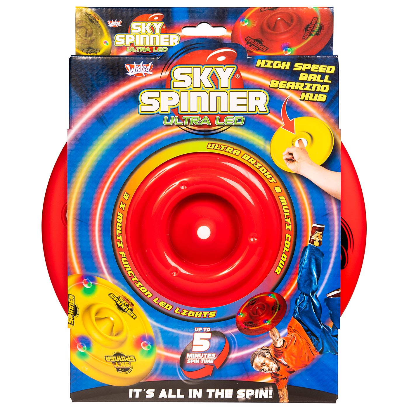 Wicked Sky Spinner Ultra LED Trick Disc - Red