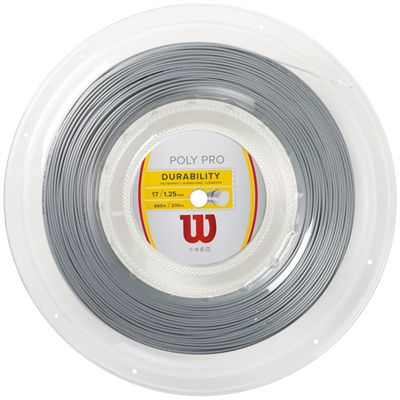 Wilson Durability Poly Pro 17 Tennis String 200m Reel-Silver