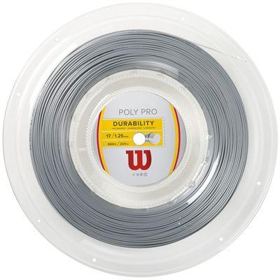 Wilson Durability Poly Pro 17 Tennis String 200m Reel-Silver