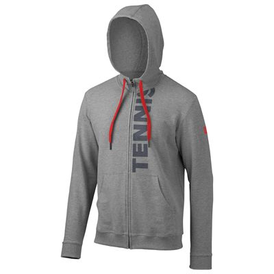 Wilson Full Zip Mens Hoodie-Grey-Red-Front