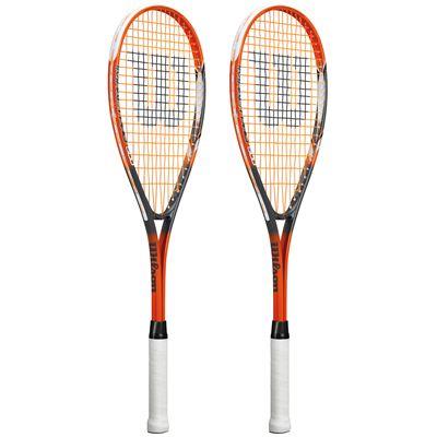 Wilson Impact Pro 500 Squash Racket Double Pack-Orange/Grey-Angled