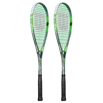 Wilson Impact Pro 900 Squash Racket Double Pack-Grey/Green-Angled