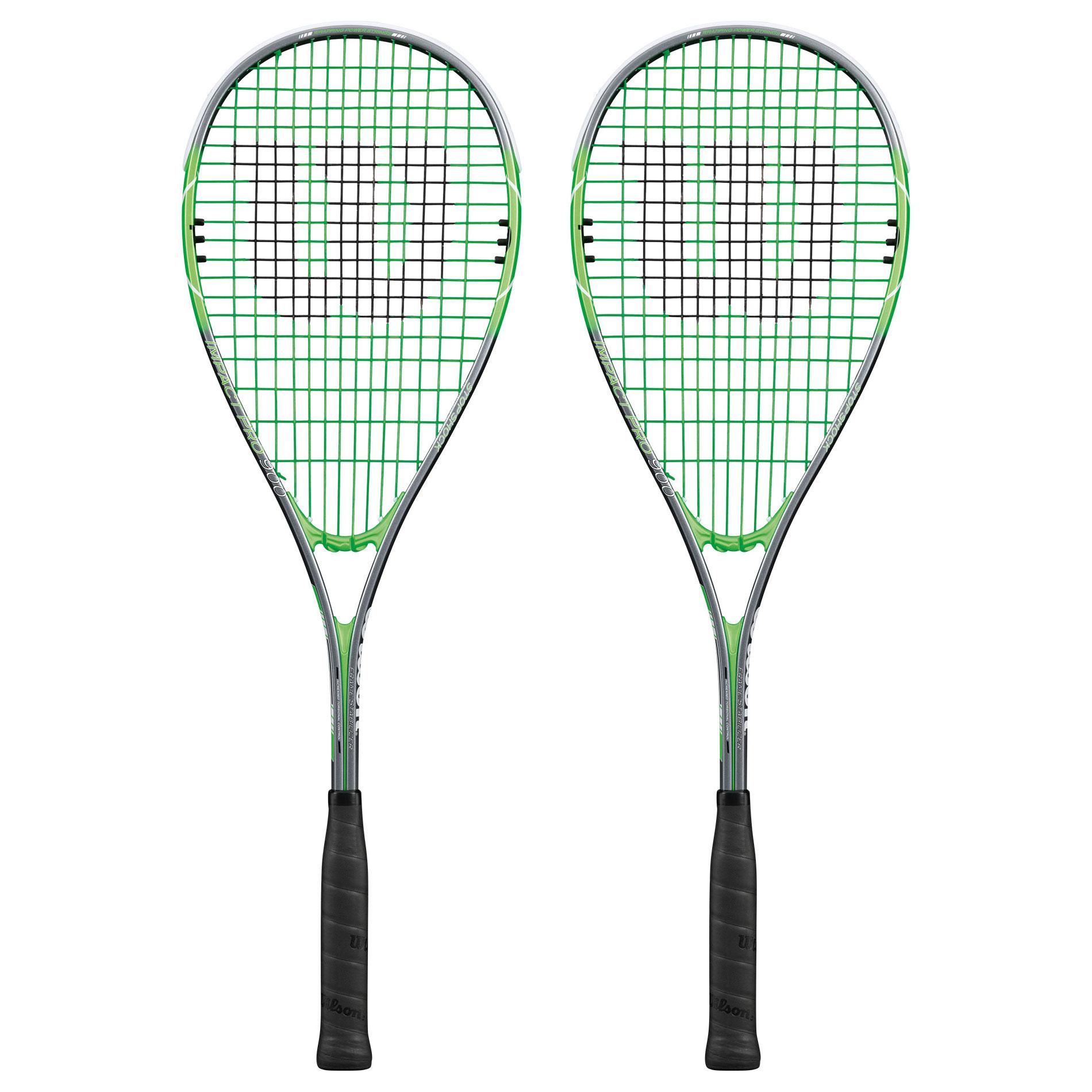Wilson Impact Pro 900 Squash Racket Double Pack - Grey/Green