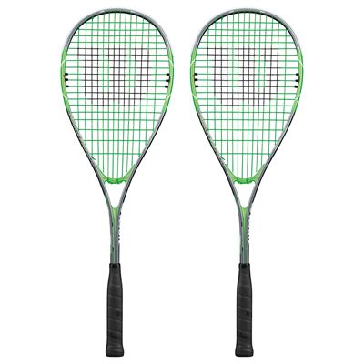 Wilson Impact Pro 900 Squash Racket Double Pack-Grey/Green-Front