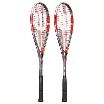 Wilson Impact Pro 900 Squash Racket Double Pack-Red/Grey-Angled