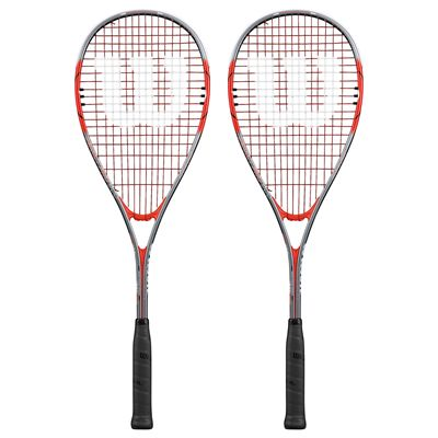 Wilson Impact Pro 900 Squash Racket Double Pack-Red/Grey-Front