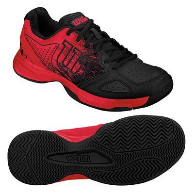 Wilson Kaos Comp Junior Tennis Shoes - Black/Red