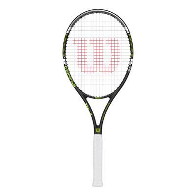 Wilson Monfils 100 Tennis Racket - Front View (white grip)
