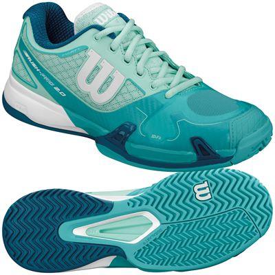 Wilson Rush Pro 2.0 Ladies Tennis Shoes-Blue-White