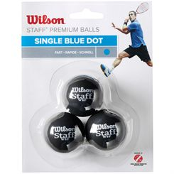 Wilson Staff Blue Dot Squash Balls - Pack of 3