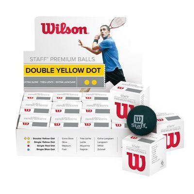 Wilson Staff Double Yellow Dot Squash Balls - 1 dozen