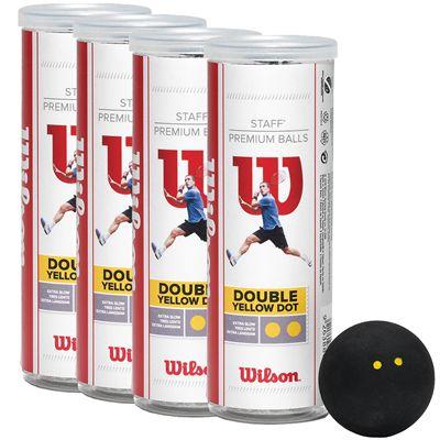 Wilson Staff Double Yellow Dot Squash Balls - 1 Dozen View