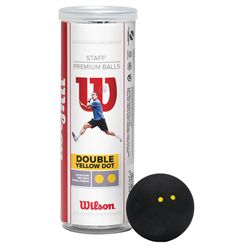 Wilson Staff Double Yellow Dot Squash Balls - 3 Ball Tube