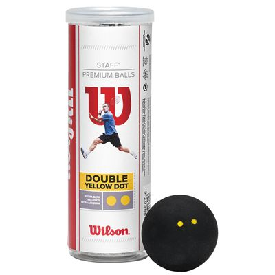 Wilson Staff Double Yellow Dot Squash Balls - 3 Ball Tube - Image