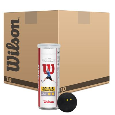 Wilson Staff Double Yellow Dot Squash Balls - 6 Dozen - Image