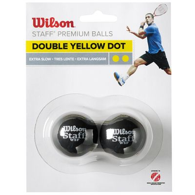 Wilson Staff Double Yellow Dot Squash Balls - Pack of 2