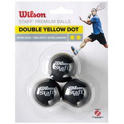 Wilson Staff Double Yellow Dot Squash Balls - Pack of 3