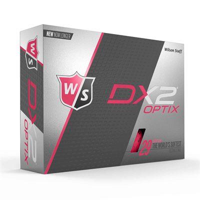 Wilson Staff DX2 Optix Golf Balls - 1 Dozen - Pink - Box