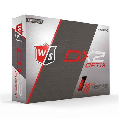 Wilson Staff DX2 Optix Golf Balls - 1 Dozen - Red - Box