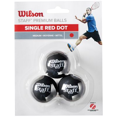 Wilson Staff Red Dot Squash Balls - Pack of 3