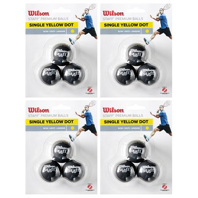 Wilson Staff Single Yellow Dot Squash Balls - 1 Dozen