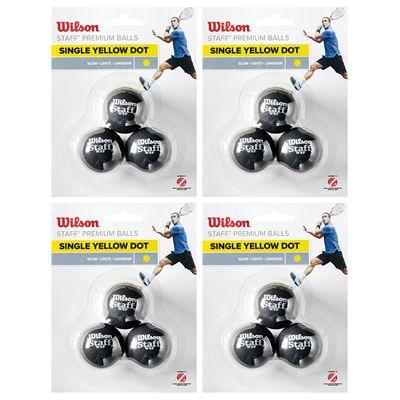 Wilson Staff Single Yellow Dot Squash Balls - 1 Dozen