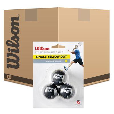 Wilson Staff Single Yellow Dot Squash Balls - 6 Dozen - Main Image
