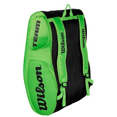 Wilson Team III 12 Racket Bag - Black - Green - Back