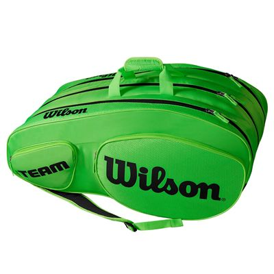 Wilson Team III 12 Racket Bag - Black - Green - Side