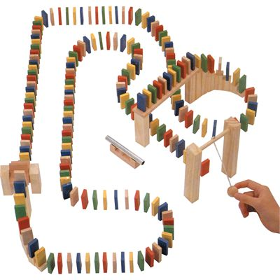 Wooden Domino Race During Play