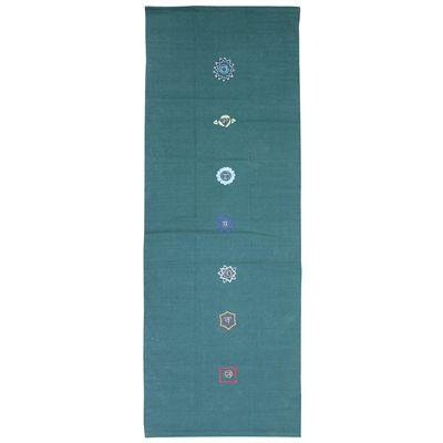 Yoga Mad Chakra Pattern Cotton Yoga Rug - Green