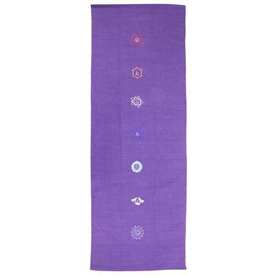 Yoga Mad Chakra Pattern Cotton Yoga Rug - Purple